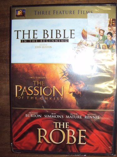 DVD SET, THE BIBLE IN THE BEGINNING -PASSION OF CHRIST -THE ROBE