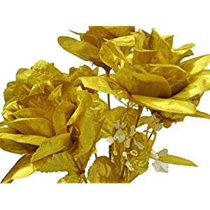 "3 Bushes Gold Open Rose 7 Artificial Silk Flowers 15"" Bouquet 775GD 35"