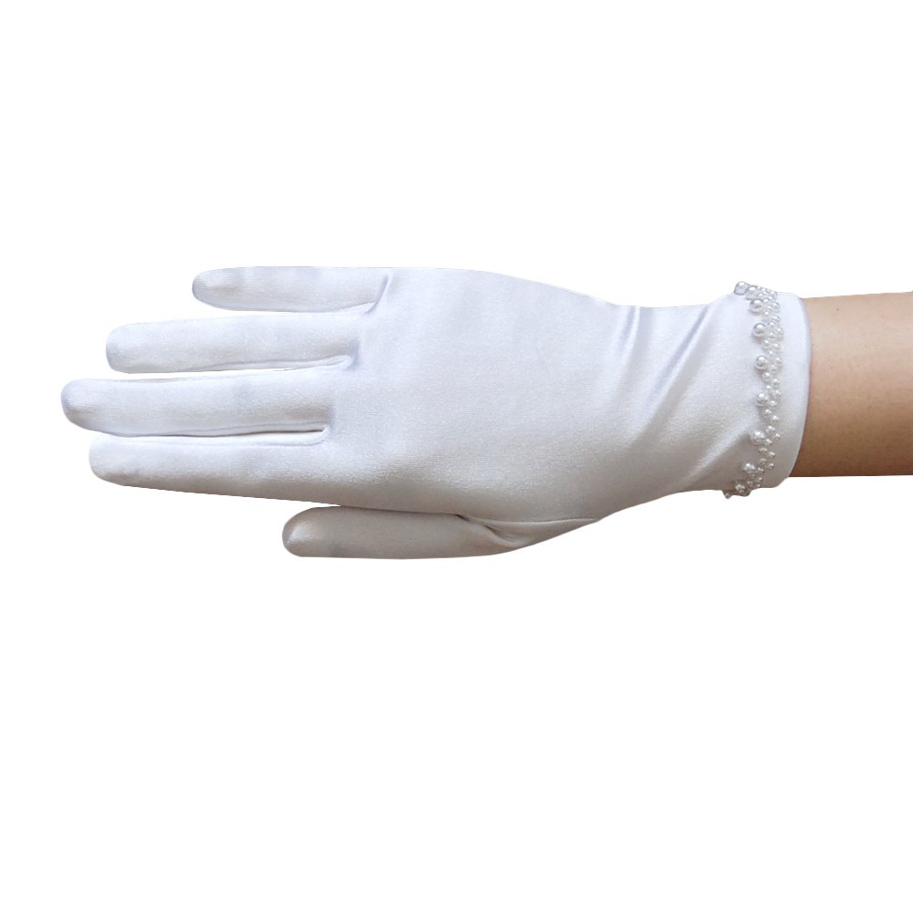 ZaZa Bridal Girl's Satin Gloves with pearl bead edging around the Wrist- Girl's Size Small (4-7yrs)/White