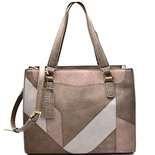 (Madison West Large, Leather Suede Patchwork Tote -Taupe)
