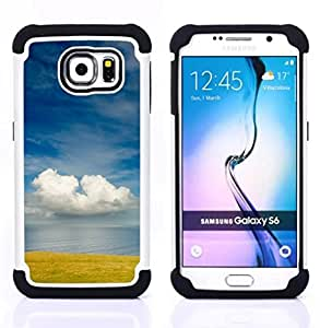 For Samsung Galaxy S6 G9200 - field sea nature sky clouds blue Dual Layer caso de Shell HUELGA Impacto pata de cabra con im??genes gr??ficas Steam - Funny Shop -