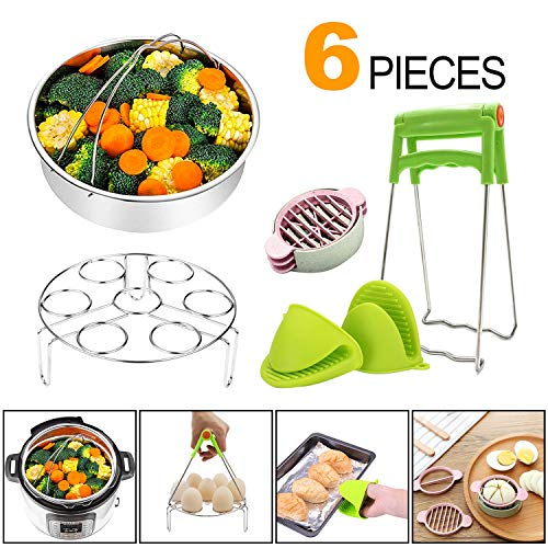 Cooking Accessories for Instant Pot 6,8 Qt,6Pieces Instant Pot Steamer Basket,Kitchen Tongs,Egg Steamer Rack,Kitchen Tongs and a Pair of Silicone Mini Oven Mitts