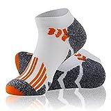 Mens Workout Socks Low Cut, LANDUNCIAGA Graduated Compression Socks Men,Running, Pregnancy, Flight, Travel, Nursing Socks Women,Padded Runner Socks,Golf Socks,White