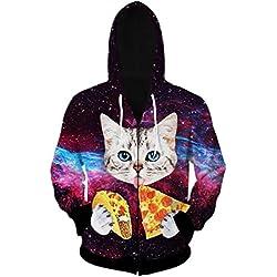 Uideazone Men Women Galaxy Pizza Cat Printed Zip Up Hoodie Sweatshirt Casual Hooded Jacket