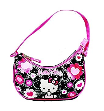 a6d1ccb5f Amazon.com: Hello Kitty Handbag Black Flower Bow New Hand Bag Purse Girls  84013: Clothing