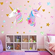 2 Sheets Large Size Unicorn Wall Decor,Removable Unicorn Wall Decals Stickers Decor for Gilrs Kids Bedroom Nur