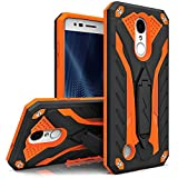 Zizo STATIC Series compatible with LG Aristo Case Military Grade Drop Tested with Built In Kickstand LG Fortune Case BLACK ORANGE
