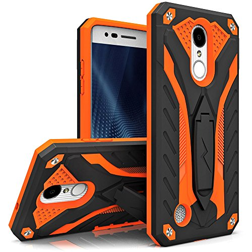 Zizo STATIC Series compatible with LG Aristo Case Military Grade Drop Tested with Built In Kickstand LG Fortune Case BLACK ORANGE by Zizo