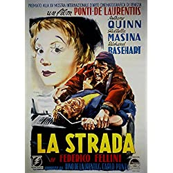 "La Strada, Anthony Quinn, Giulietta Masina, Richard Basehart, 1954 - Premium Movie Poster Reprint 28"" by 40"" Unframed"