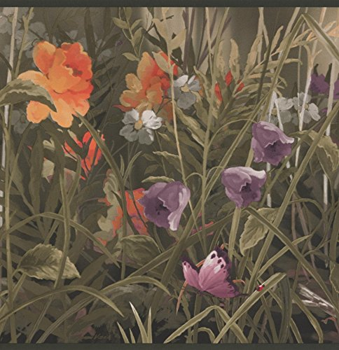 Wild Meadow Purple Orange Flowers Butterflies Floral Wallpaper Border Retro Design, Roll 15' x ()