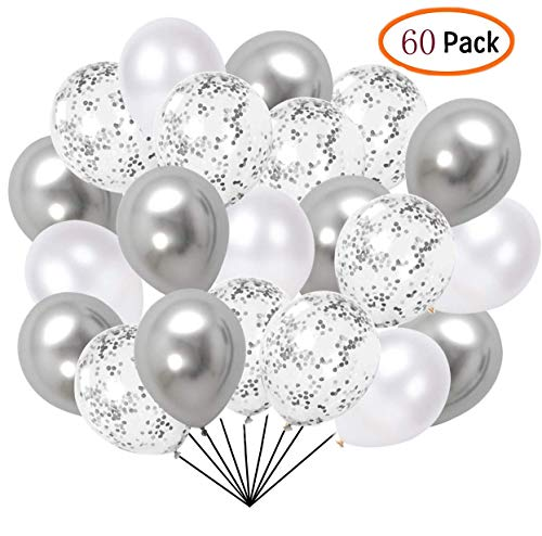 60 Pcs Pack-White, silvery, silvery Confettii Balloons with Ribbon,Set for Father