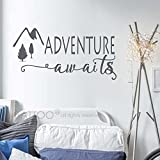 BATTOO Adventure Awaits Wall Decal Stickers - Adventure Quotes Travel Theme Wall Decor - Wanderlust Wall Decal - Mountain Wall Decal Bedroom Decor(dark gray, 30''WX15''H)