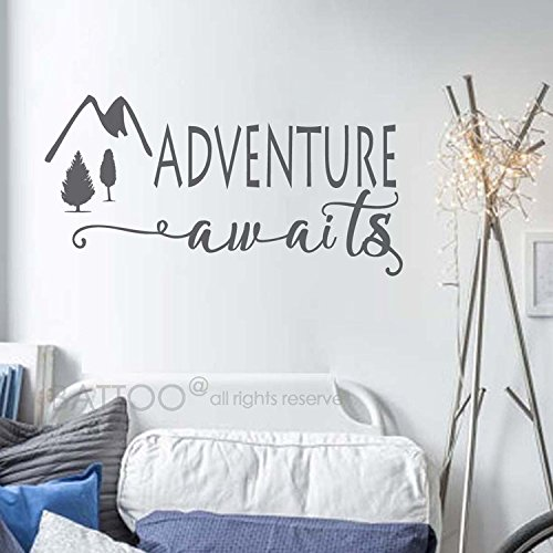 BATTOO Adventure Awaits Wall Decal Stickers - Adventure Quotes Travel Theme Wall Decor - Wanderlust Wall Decal - Mountain Wall Decal Bedroom Decor(dark gray, 40