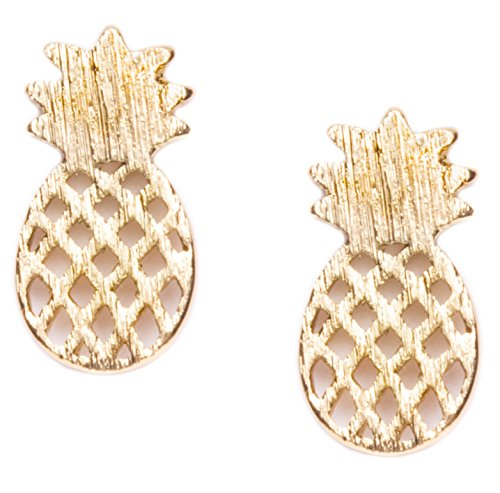 [Happiness Boutique Women Pineapple Stud Earrings in Gold | Delicate Ear Studs Minimalist Style] (Unique Costume Ideas For Teenage Girls)