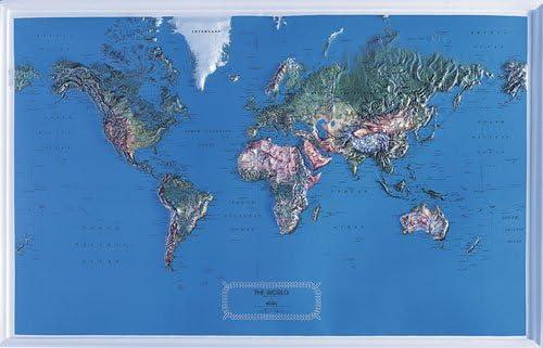 Mundo mapa en relieve grande NCR estilo con negro marco de plástico: Amazon.es: Oficina y papelería
