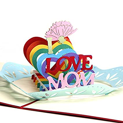 Amazon HUNGER Handmade 3D Pop Up I Love Mom Creative Birthday Cards Greeting Papercraft For Mothers Day Q542801 Office Products