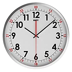 Unity Stainless Steel Baton Silent Sweep Non-Ticking Wall Clock, 12-Inch