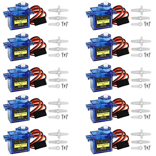 Miuzei 10 pcs SG90 Servo Motor, Micro Servo 9G SG90 Kit for RC Robot Arm/Walking Helicopter Airplane Car Boat Control, Micro Servos for Arduino Project