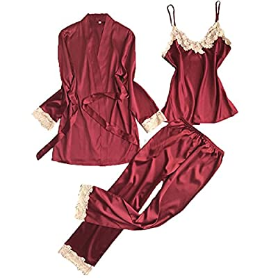 JIANGTAOLANG Three Pieces Satin Lace Padded Pajamas Sets with Long Sleeve Bathrobe Sexy V-Neck Womens Nightwear