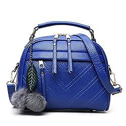 Todaies Hot Sale!Women's Fashion Tassel Handbag Leather Hairball Shoulder Bag Tote Purse Bag (22cm(L)18(H)11cm(W), Blue)