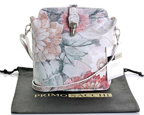 Primo Sacchi Italian Leather Hand Made Small Vintage Floral Print Cross Body or Shoulder Bag (Floral Print Leather)