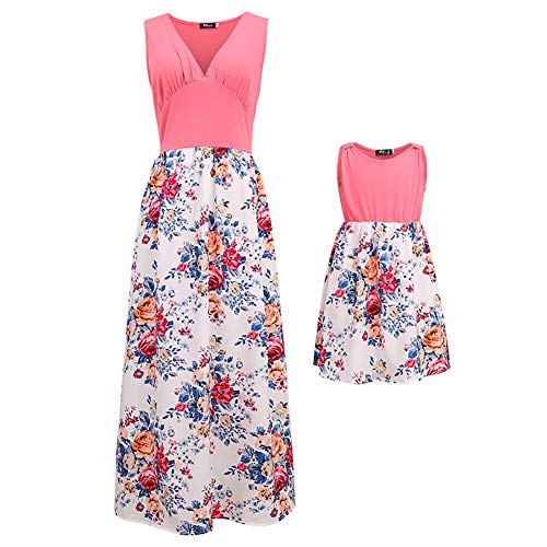 PopReal Mommy and Me V-Neck Sleeveless Floral Print Beach Matching Maxi Dress