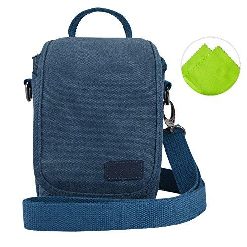 First2savvv BDV1703 blue cavans DSLR SLR camera case bag for FUJIFILM Fuji X-Pro2 .XE2S .X70 .X100T .X100S .XQ2 .instax mini 90 .mini 50S .mini 70 + Cleaning cloth