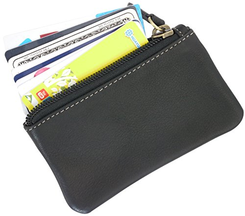 Leather Coin Purse Change Wallet Card Case Small Zip Bag For Men Women (Black)