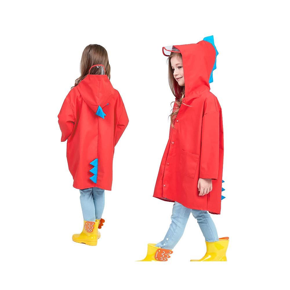 SSAWcasa Yellow Raincoat Kids Boy, Toddler Girls Dinosaur Rain Coat Jacket Poncho with Hood
