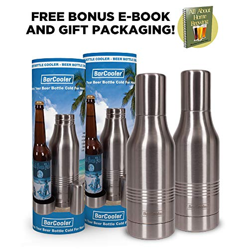 (BarCooler Beer Bottle Cooler. Double Wall Stainless Steel Beer Bottle Holder. Includes bonus E-Book + Gift Box (Twin Pack))