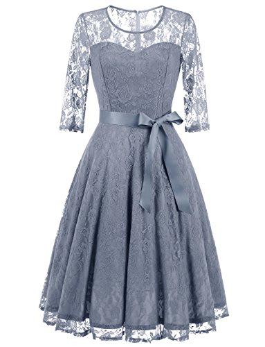 Women Lace Prom Dress Grey - 1
