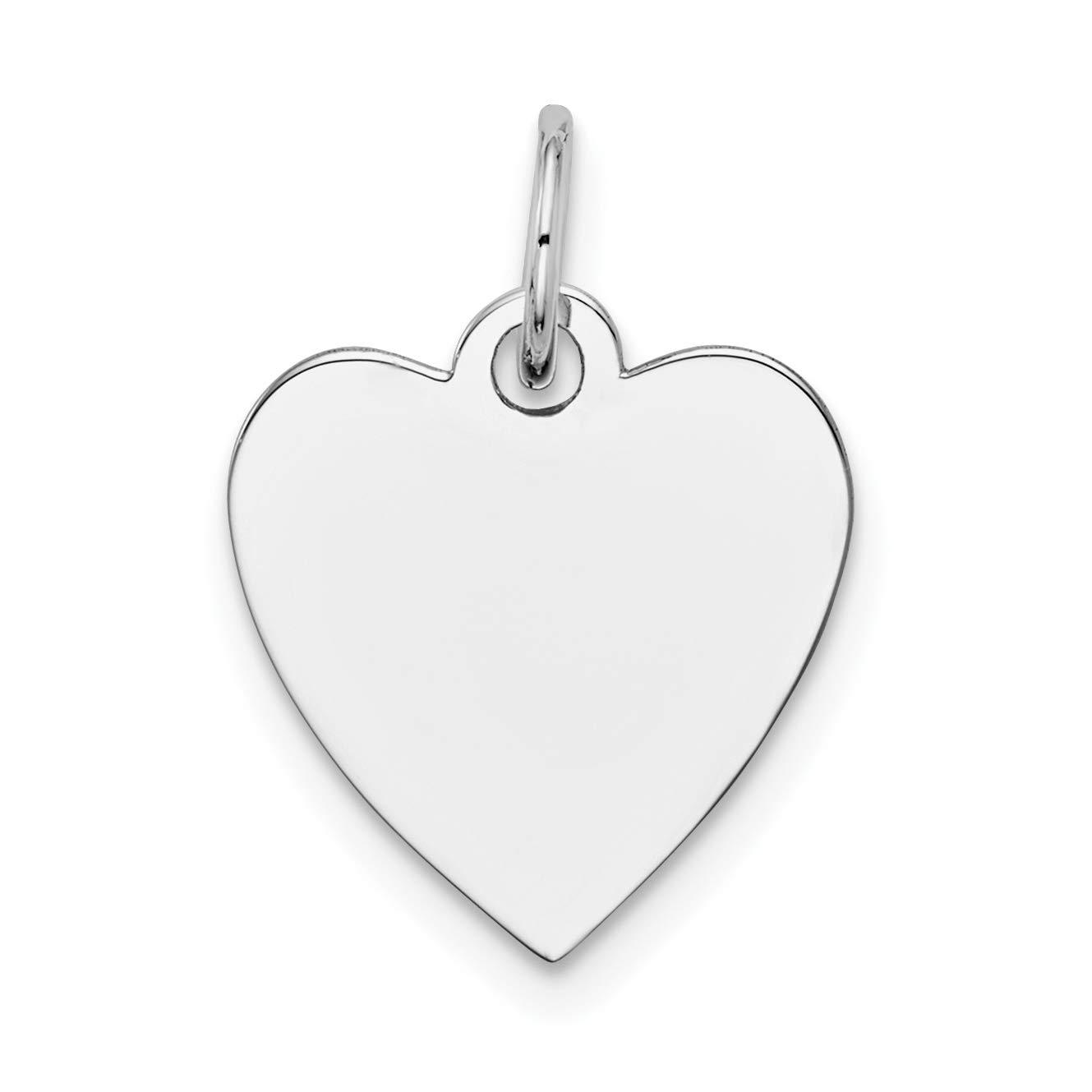 14k White Gold Plain .011 Gauge Engravable Heart Charm