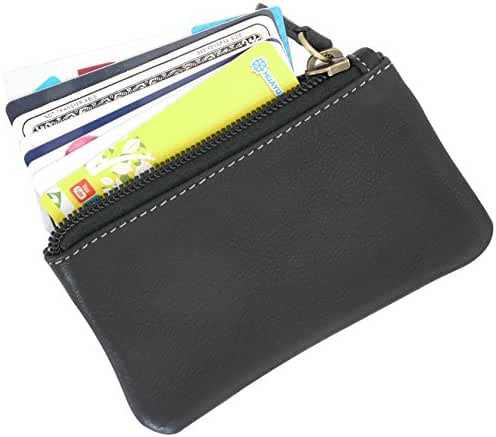 Leather Coin Purse Change Wallet Card Case Small Zip Bag For Men Women