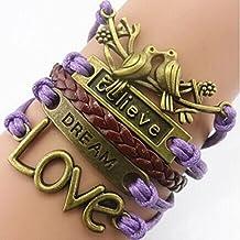 Changeshopping Handmade Adjustable Believe Pigeon Charms Multilayer Bracelet Wristband
