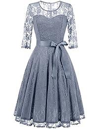 Women's Elegant Floral Lace Dress 3/4 Sleeves Bridesmaid Midi Dresses Illusion Neckline