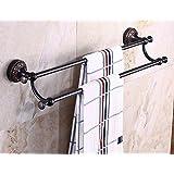 Oulantron Wall Mount Double Towel Bars Oil Rubbed Bronze Bathroom Towel Rack Rail