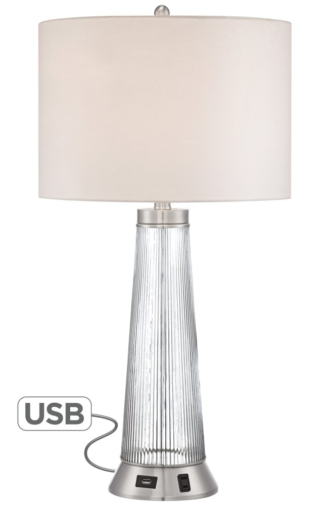 "Hamish Modern Table Lamp with USB and AC Power Outlet in Base Ribbed Glass White Drum Shade for Living Room Family - Possini Euro Design - 28"" high overall. Round base is 6 1/2"" wide. Drum shade is 10"" high x 15"" wide. Weighs 6.2 lbs. Uses one maximum 150 watt standard-medium base bulb (not included). On-off switch on socket. Possini Euro Design® table lamp with a 2A USB port and an outlet utility plug. 2 amps. - lamps, bedroom-decor, bedroom - 5199 E2CvJL -"