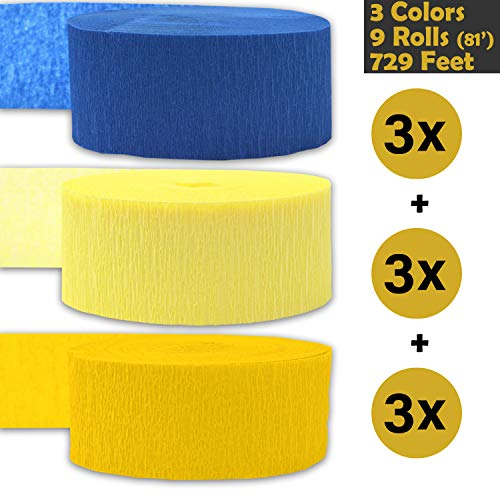Crepe Party Streamers, 9 rolls, 3 Colors, 739 ft - Sapphire Blue + Light Yellow + Classic Yellow - 243