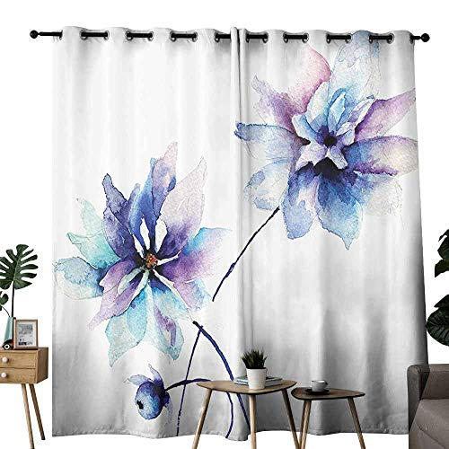 Wakefield Curtain - Marilec Decor Curtains Watercolor Flower Decor Elegant Flower Drawing with Soft Spring Colors Retro Style Floral Art LWhite Purple and Blue Blackout Draperies for Bedroom Living Room W108 xL84