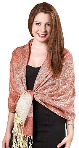 Womens Silk Blend - Gilbin Luxurious Paisley Design 28 x 70 Silk Blend Pashmina Shawl Wrap Gold/Bone