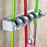 Tharv Wall Mounted & Hook für Mop Brush Broom Holder Organizer Storage Tool Rack | 5 Position and 6 Hooks