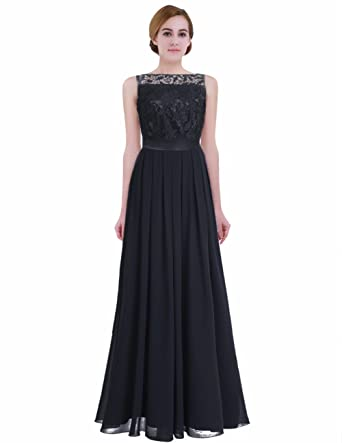 iEFiEL Women Sleeveless Embroidered Chiffon Bridesmaid Evening Prom Dresses Black UK Size 2