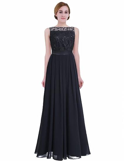 e571fe80cf iEFiEL Summer Wedding Floral Lace Crochet Bridesmaid Chiffon Dress Evening  Gown