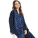 Womens Silk Satin Pajamas Set Sleepwear Loungewear Blue XL