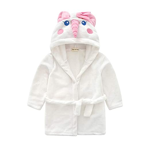 Toddler Baby Boys Girls Long Sleeve Bathrobe Cat Print Hoodie Night-Gown Clothes