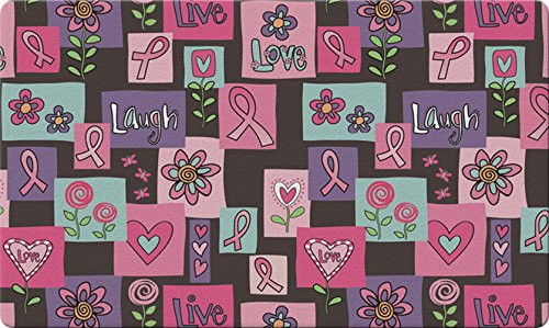 Toland Home Garden Live Love Laugh Forever 18 x 30 Inch Decorative Floor Mat Cancer Awareness Support Pink Ribbon Doormat