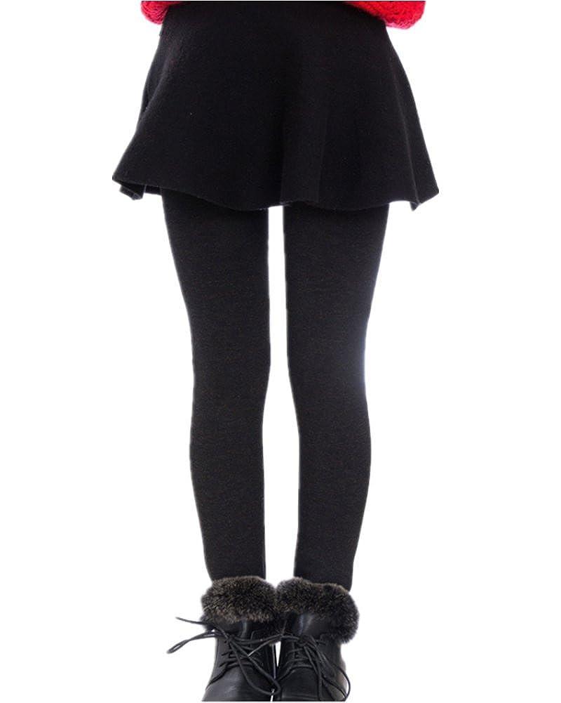 Amao Kids Girl Winter Warm Elastic Waist Leggings Fleece Pants Tights