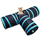 Toonol Foldable 3 Holes Pet Cat Tunnel Toys Indoor Outdoor Pet Cats Training Toy Kitten Rabbit Funny Play Tunnel House Toys