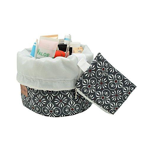 Beautistyle Large Cosmetic Travel Bag,Waterproof Toiletry Bag for Women,Barrel Makeup Bag.(moss green)
