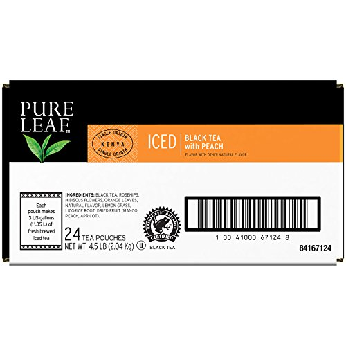 Pure Leaf Iced Loose Tea Pouch Black with Peach 3 gallon 24 ct by Pure Leaf